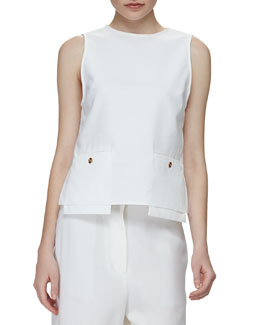 Drop-Pocket Sleeveless Tunic, White