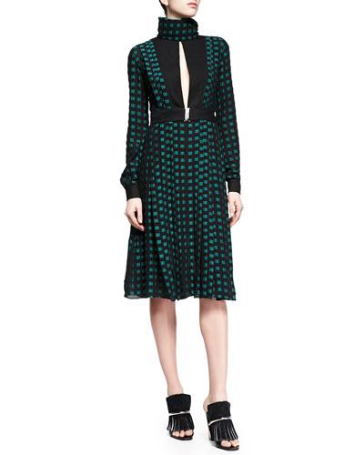 Fil Coupe Slit Square-Dotted Dress, Black/Green