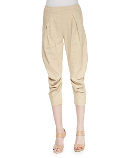 Washed Canvas Pleated Capri Pants, Parchment