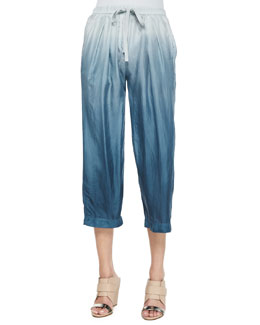 Ombre Wide-Leg Drawstring Pants