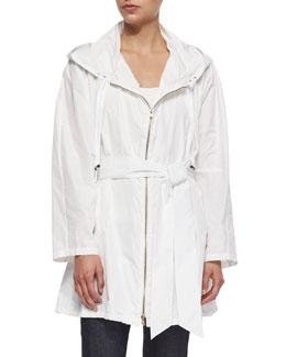 Hooded Taffeta Zip-Front Coat