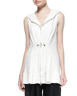 Hooded Drawstring Zip Vest, Ivory