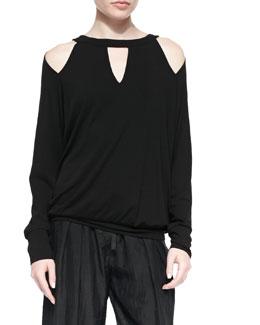 Cold-Shoulder Jersey Cutout Top, Black