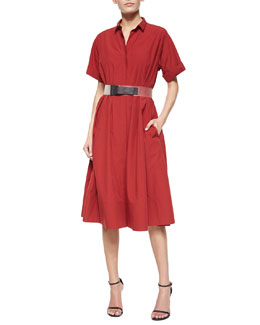 Rolled-Cuff Belted Shirtdress