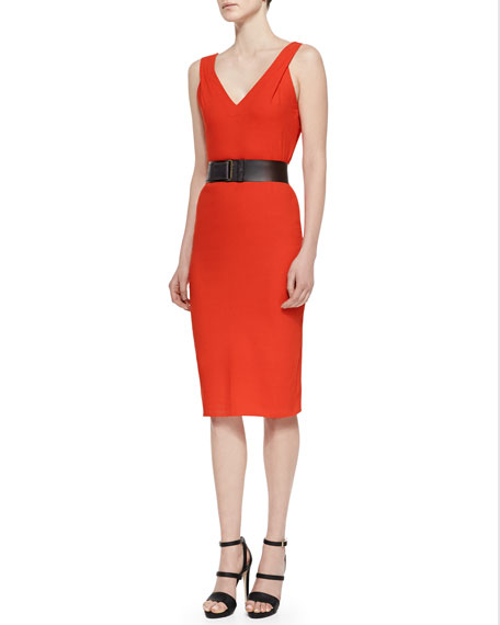 Belted V-Neck Cutout Dress, Flame Red