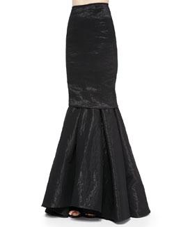 Stretch-Organza Trumpet Skirt, Black