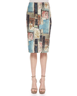 Stencil Patchwork-Print Pencil Skirt