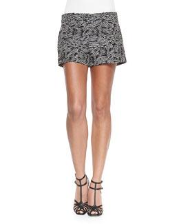 Woodgrain-Pattern Jacquard Shorts, Dark Indigo