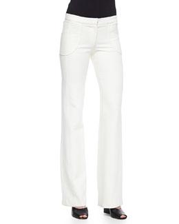 Front-Pocket Flare-Leg Trouser, White