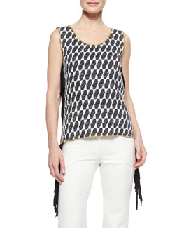 Ikat Checked Fringe Top
