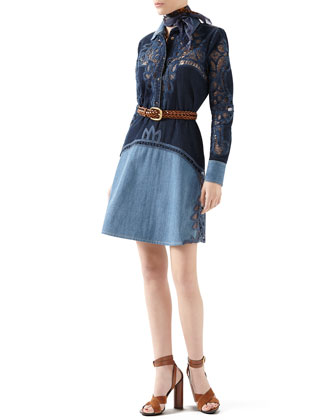 Gucci Contrast Denim Dress With Broderie Anglaise Detail