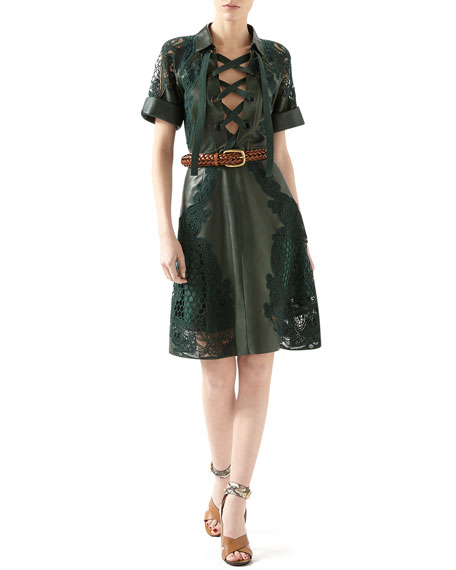 Leather Dress With Broderie Anglaise Detail