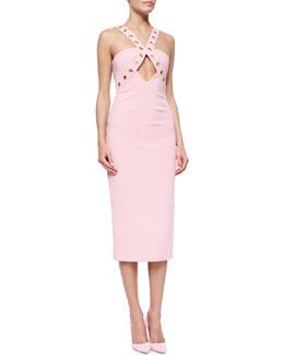 Grommet-Detailed Cutout Sheath Dress