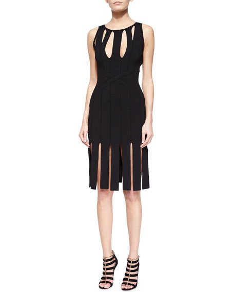 Cutout Paneled Carwash-Skirt Dress