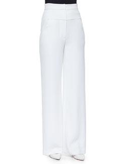 High-Waisted Yoked Wide-Leg Pants, White