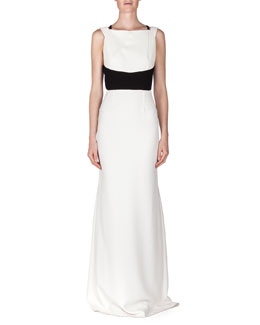 Ruloe Contrast Multi-Strap Back Gown, White/Black
