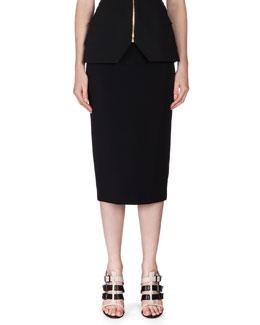 Arreton Exposed Back-Zip Midi Skirt, Black