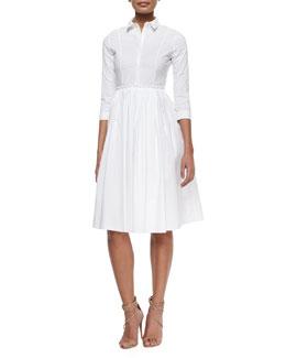 3/4-Sleeve Cotton Shirtdress