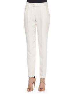 Slim Tailored Silk Trousers, Parchment