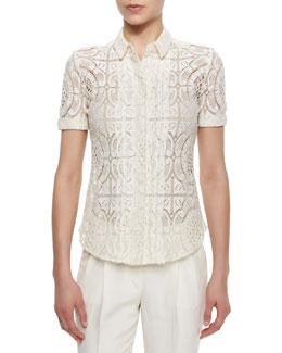 Short-Sleeve Lace Button Blouse, Parchment