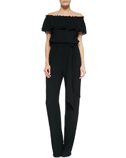 Off-The-Shoulder Smocked Jumpsuit, Black