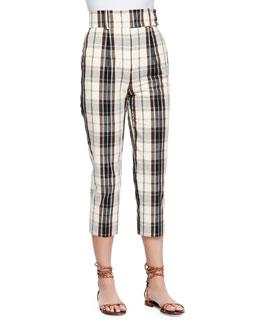 Plaid Mid-Calf Skinny Pants, Muslin/Black