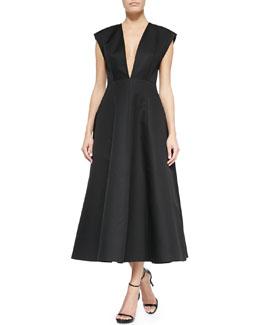 Deep V-Neck Back-Pleated Dress, Black