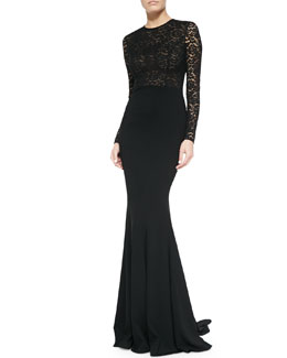 Lace Illusion Mermaid Gown, Black