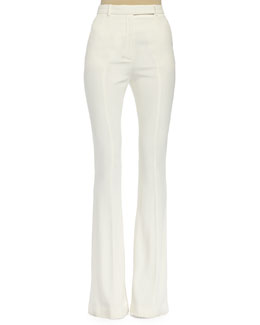 High-Waist Flared Pants, Bone