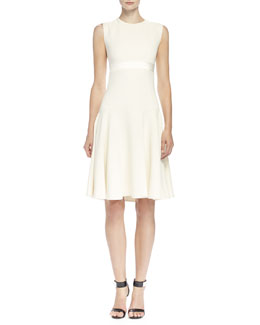 Jacquard-Inset Leaf Crepe Dress, Bone