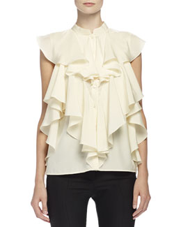 Ruffled Blouse with Mandarin Collar
