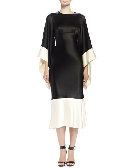 2481218cc754 Alexander McQueen Colorblock Kimono-Sleeve Midi Dress, Black/Bone