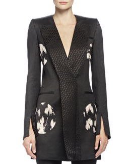 Floral-Print Circle-Detailed Jacket, Black Mix
