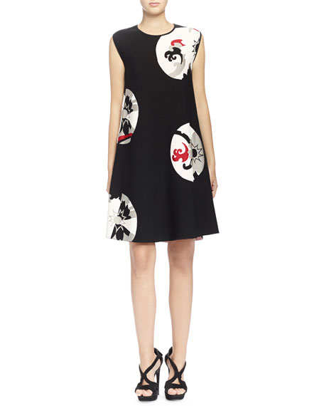 Kansai Floral-Print Inset A-Line Dress