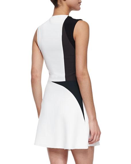 Colorblock Spike-Print Asymmetric Dress, White Multi