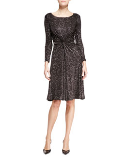 Glitter-Jersey Scoop-Neck Long-Sleeve Dress