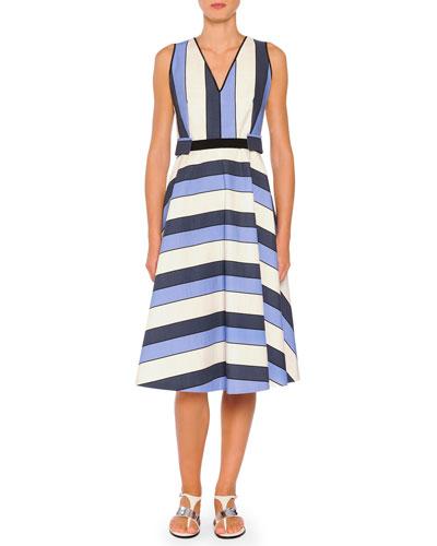 Belted Striped A-Line Dress, Blue Stripes