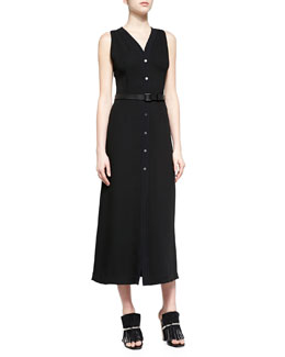 Snap-Front Cloque Midi Dress, Black