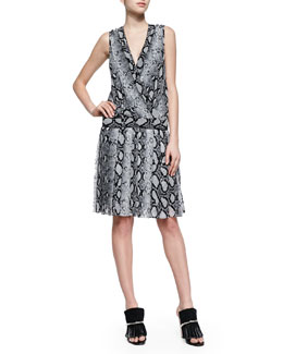 Python-Print Drop-Waist Dress, Black/White