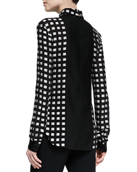 Square-Dotted Fil Coupe Button Blouse, Black/White