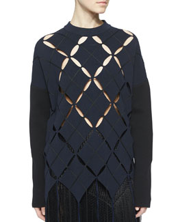 Open Argyle Fringe-Trimmed Top