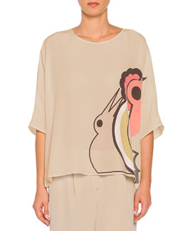 Abstract Parrot-Print Oversized Tunic, Taupe