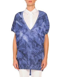Short-Sleeve Tie-Dye Sweater, Blue