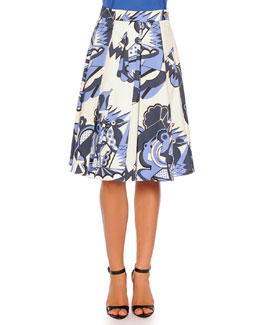 Depero-Print Pleated A-Line Skirt, Blue Pattern