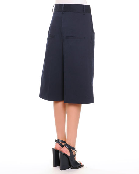 Patch-Pocket Tonal Microstriped Long Shorts, Navy