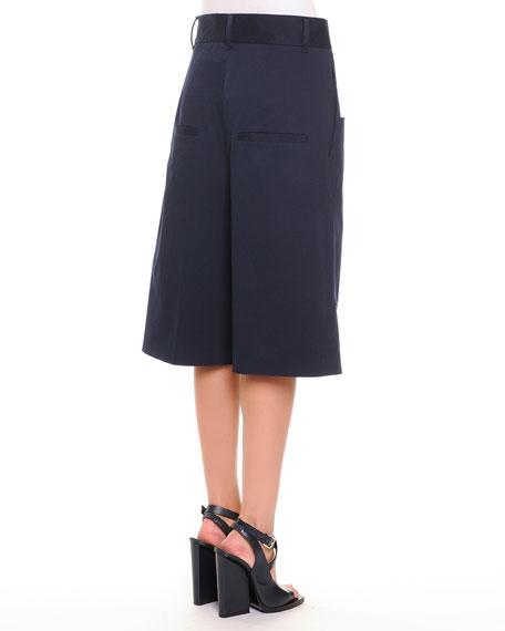 Patch-Pocket Tonal Microstriped Long Shorts, Navy