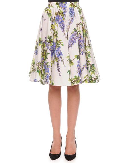 45f08fad Dolce & Gabbana Wisteria-Print Pleated A-Line Skirt, White/Lavender