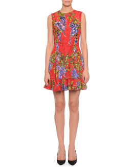 Wisteria-Print Flounce-Hem Dress, Red Multi