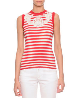 Striped Lace-Inset Top, Red/White