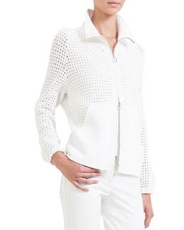Hand Crochet Zip-Front Cardigan, Calcite